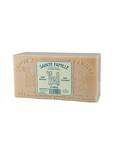 2 cubes de 500 g de savon de Marseille traditionnel blanc. Savons de Marseille pour le lingeLa Sainte Famille. Marius Fabre depuis 1900