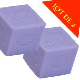 Lot de 2 cubes savons de Toilette Parfumé LAVANDE – 2 X 300G – à base de véritable savon de Marseille cuit en chaudron à l'ancienne