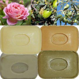 Lot de 4 Savons de toilette parfumés Aloé Véra, Huile d'Argan, Fleur de Tiaré Monoï, Amandes Douces
