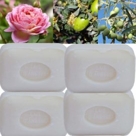 Lot de 4 savons de toilette 100g parfumés enrichis au Lait d'ânesse