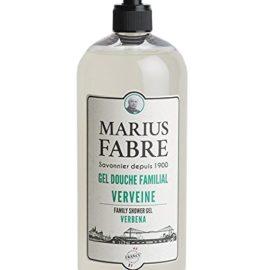 Marius Fabre - Gel douche familial, parfumé à la verveine 1L. Constitué d'huiles 100% végétales, sans graisses animales, sans colorant, sans Sodium laureth sulfate, sans paraben, sans Tetrasodium EDTA. Recharge é