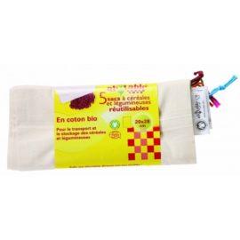 Ecodis - 5 Sacs réutilisables céréales et légumineuses, en coton bio
