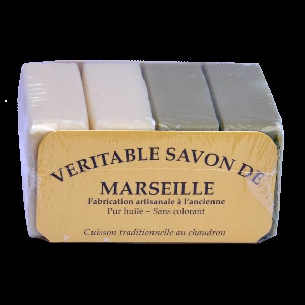 4 Savons de Marseille Traditionnels 2 x 100g végétal blanc + 2 x100g vegetal olive verte - Le serail