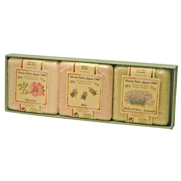 3 Savonnettes MARIUS FABRE panachées 3 x 100 g parfumées à la lavande, à l'églantine et au miel