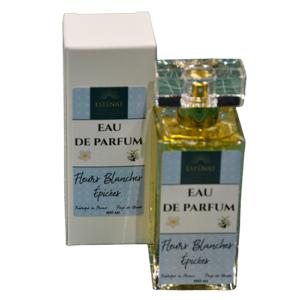 Esténat Parfums -Eau de Parfum pour Femme 100 ml Fleurs Blanches Epicées. Parfums de Grasse