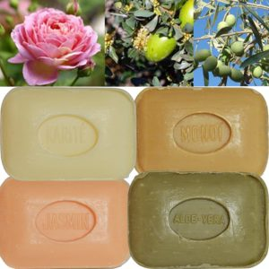 Lot de 4 Savons de toilette parfumés Aloé Véra, Fleur de Jasmin, Fleur de Tiaré Monoï, Beurre de Karité