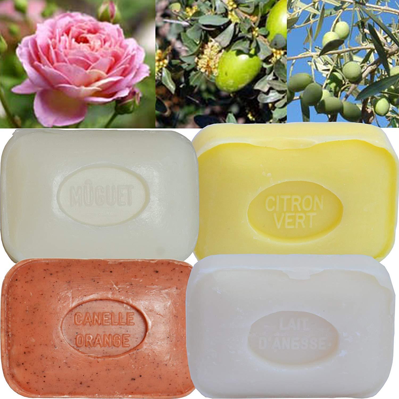 Lot de 4 Savons de toilette parfumés Lait d'Ânesse, Cannelle Oranges Broyées, Citron Vert, Muguet