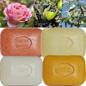 Lot de 4 Savons de toilette parfumés Muguet, Miel, Amandes Douces, Orange Cannelle
