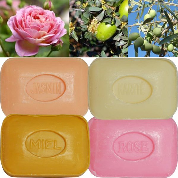 Lot de 4 Savons de toilette parfumés Rose, Fleur de Jasmin, Miel, Beurre de Karité