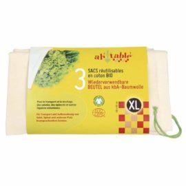 Ecodis - 3 Sacs réutilisables XL pour légumes volumineux, en coton bio